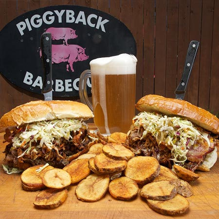 Piggyback BBQ Whitefish Sandwiches Ribs Beer Salads and More